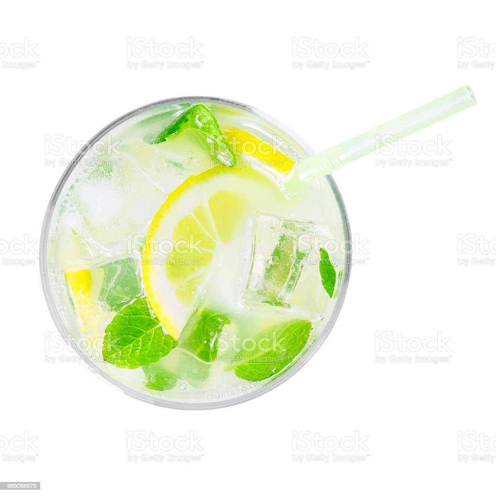top view of glass of cold lemonade isolated on white zbiór zdjęć royalty-free