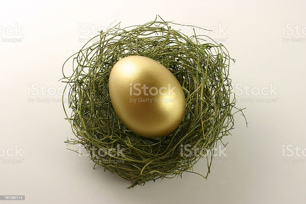 Top View of Golden Egg in Nest royalty-free stock photo