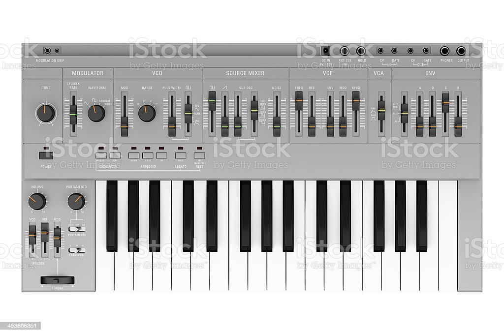 top view of gray synthesizer isolated on white background stock photo