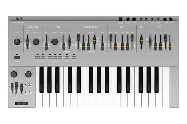 top view of gray synthesizer isolated on white background top view of gray synthesizer isolated on white background synthesizer stock pictures, royalty-free photos & images