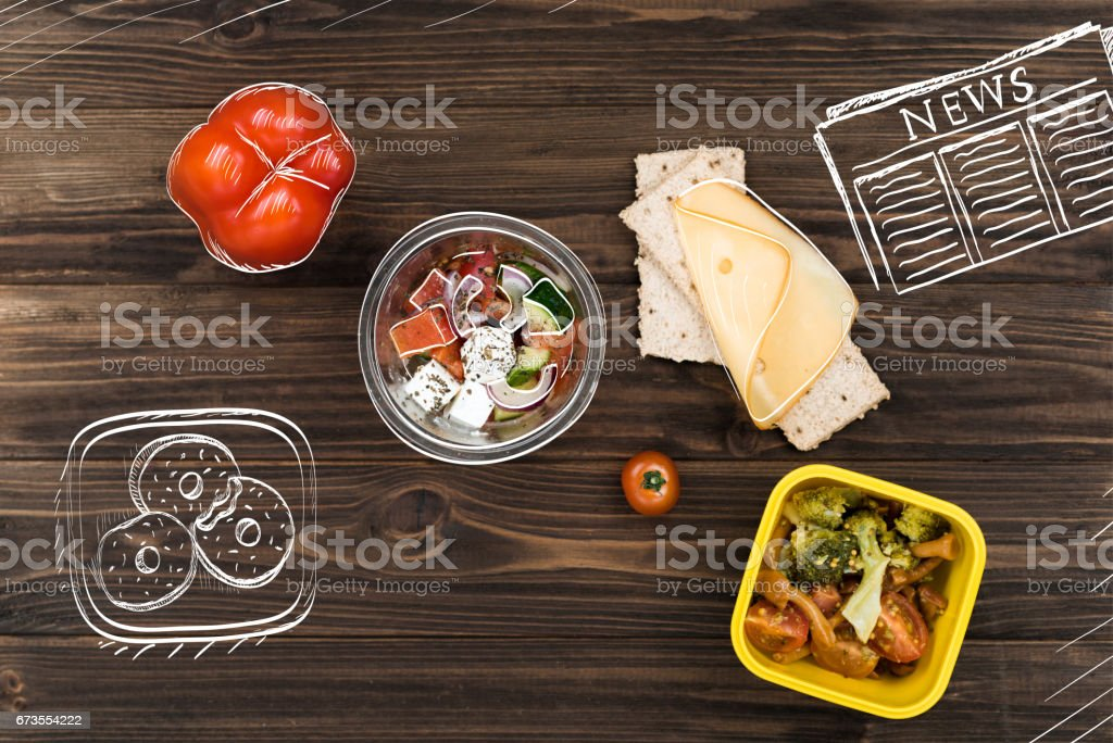 Top view of greek salad on lunch table royalty-free stock photo