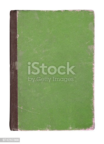 Green book isolated on white. Closed green book isolated