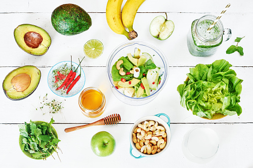 istock top view of green smoothie ingredients. 822526524