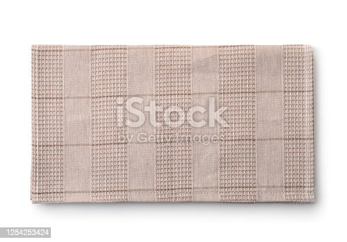 Top view of grey folded kitchen cloth isolated on white