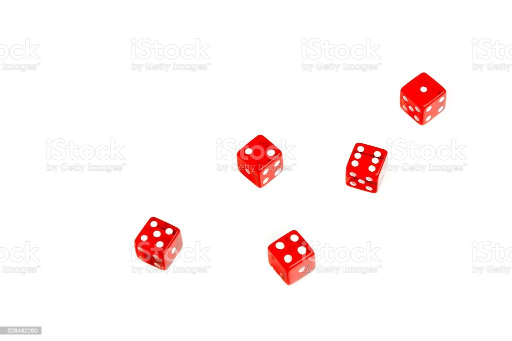 top view of group of red dices stock photo