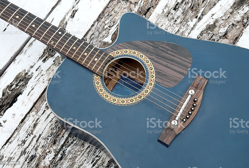 Top View of Guitar on Table royalty-free stock photo