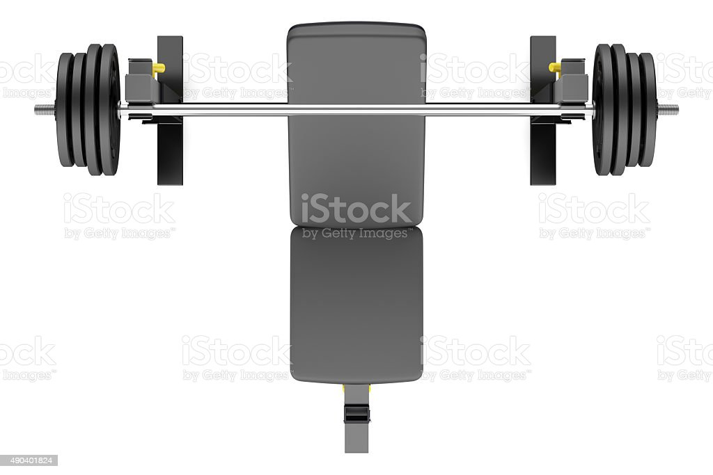top view of gym adjustable weight bench with barbell isolated stock photo