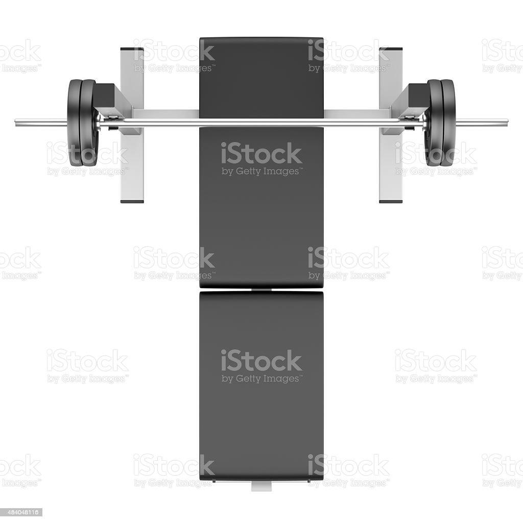 top view of gym flat weight bench with barbell isolated stock photo