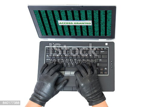 istock Top View of Hacker Hands breaking network protection on white 840177388