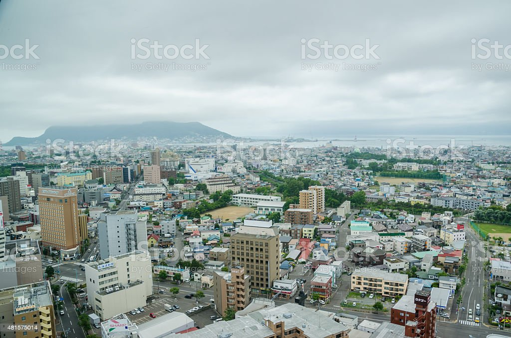 Top view of Hakodate city, Hokkaido, Japan stock photo
