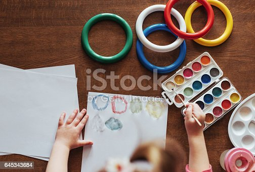 636761588istockphoto Top view of hands and brush paint watercolor  gouache 645343684