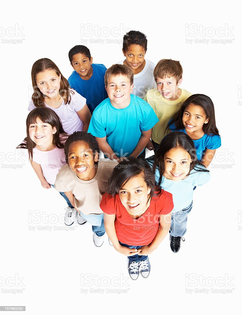 Top view of happy united kids representing diversity royalty-free stock photo
