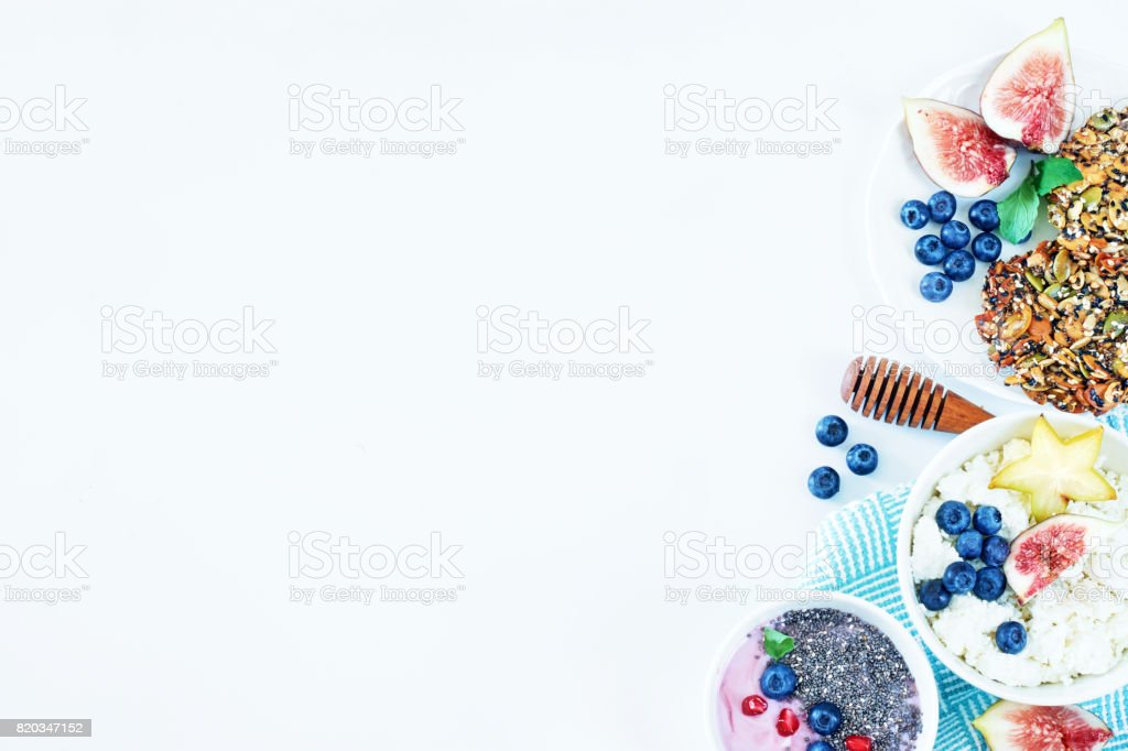 Top view of healthy breakfast dishes with a copy space. stock photo