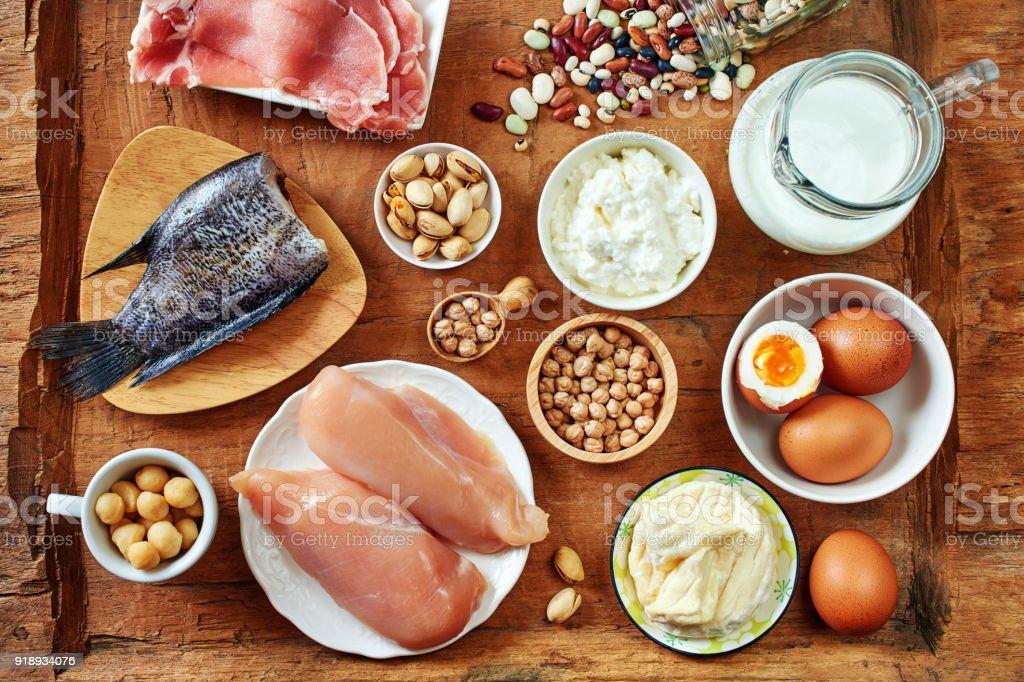 Draufsicht von eiweißreichen Lebensmitteln. – Foto