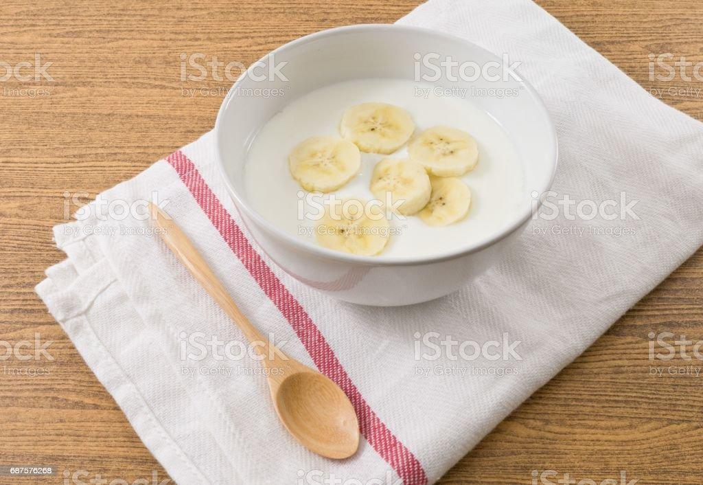 Top View of Homemade Yoghurt with Banana - Photo