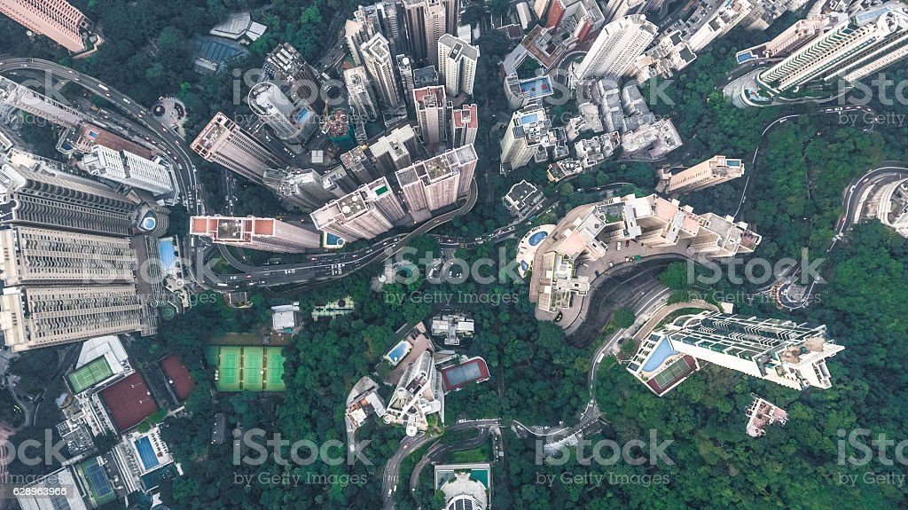 Top View of Hong Kong stock photo