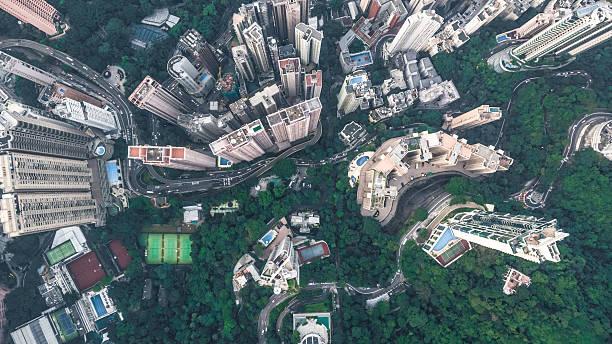 top view of hong kong - kleinstadt ansicht stock-fotos und bilder