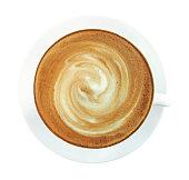 スパイラル ミルク ホット コーヒー カプチーノ カップの上から見る泡の分離に白い背景に、クリッピング パスを含めます。