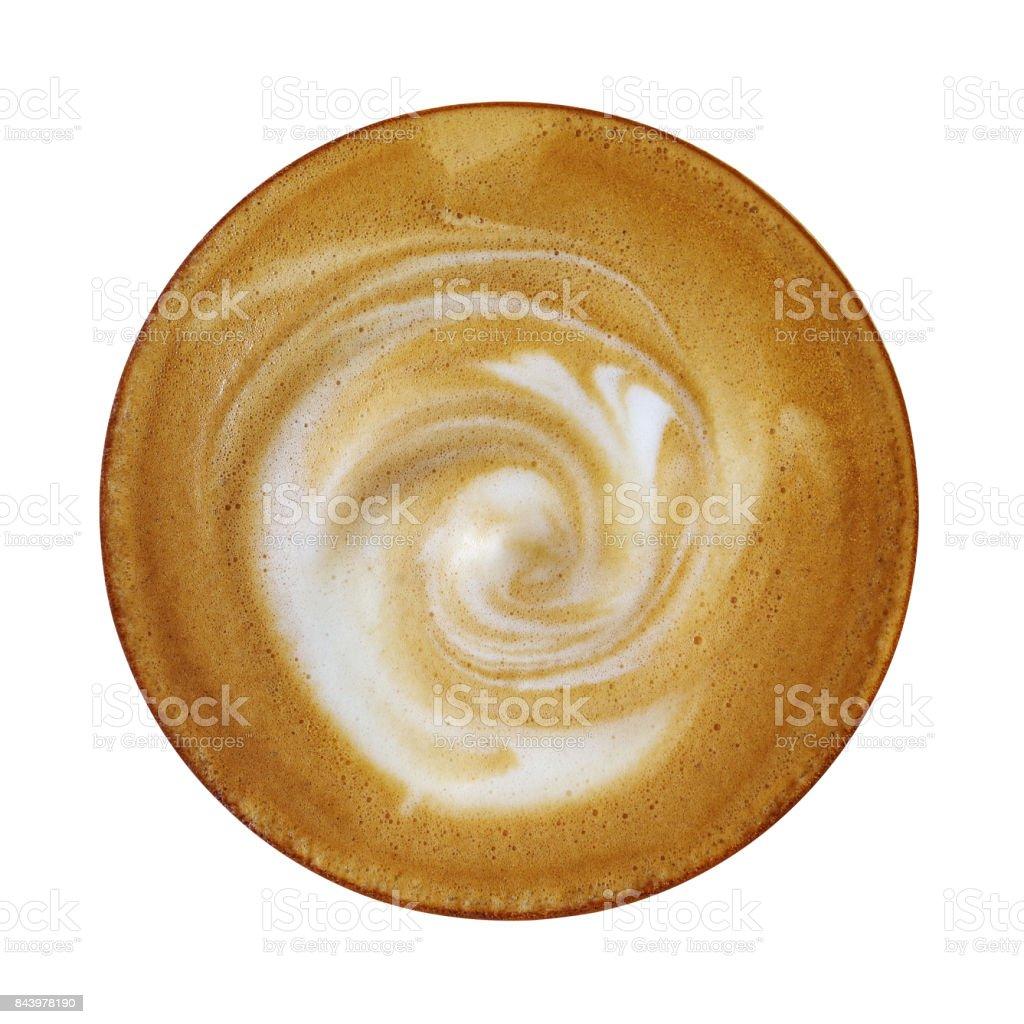 Draufsicht der heißen Kaffee Cappuccinotasse mit Spirale Milch Schaum isolierten auf weißen Hintergrund, Clipping-Pfad enthalten. – Foto