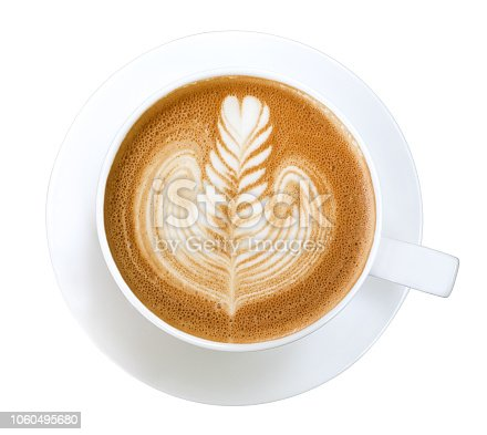 Top view of hot coffee cappuccino latte art isolated on white background, clipping path included