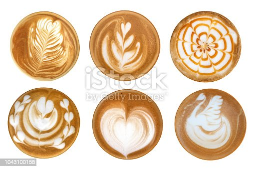 Top view of hot coffee latte art foam set isolated on white background