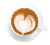 Top view of hot coffee latte art heart shape foam isolated on white background, clipping path included