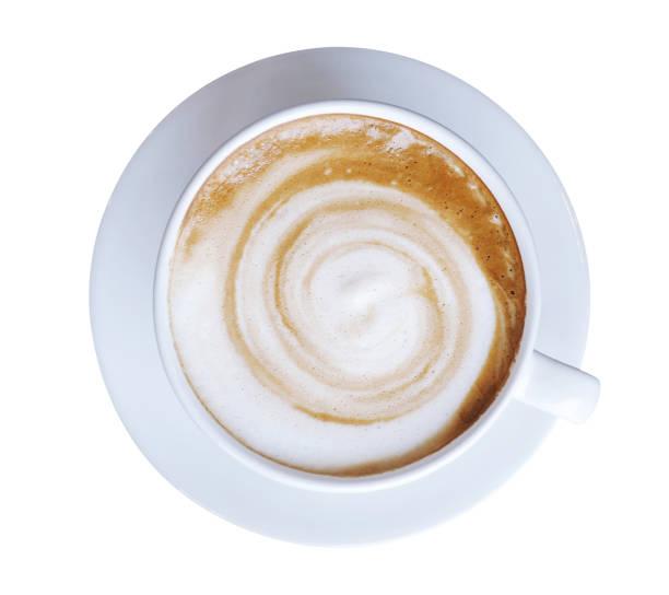 スパイラル ミルク ホット コーヒー カフェラテ カプチーノ カップの上から見る泡の分離に白い背景に、クリッピング パスを含めます。 ストックフォト