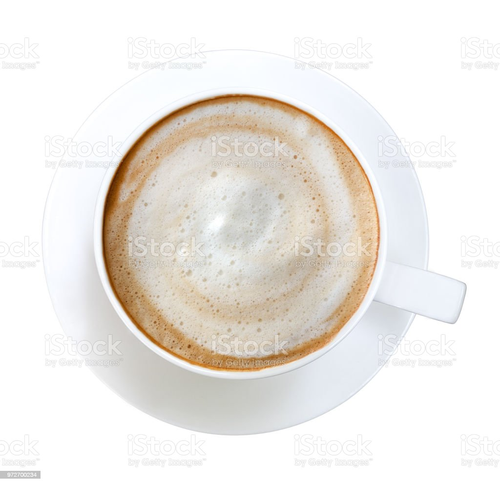 Top view of hot coffee latte cappuccino spiral foam isolated on white background, clipping path included stock photo