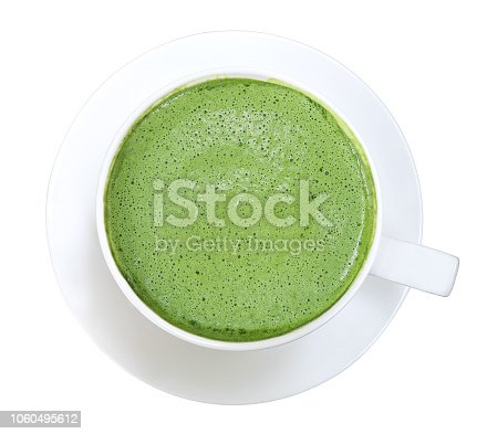 Top view of hot matcha green tea foam isolated on white background, clipping path included