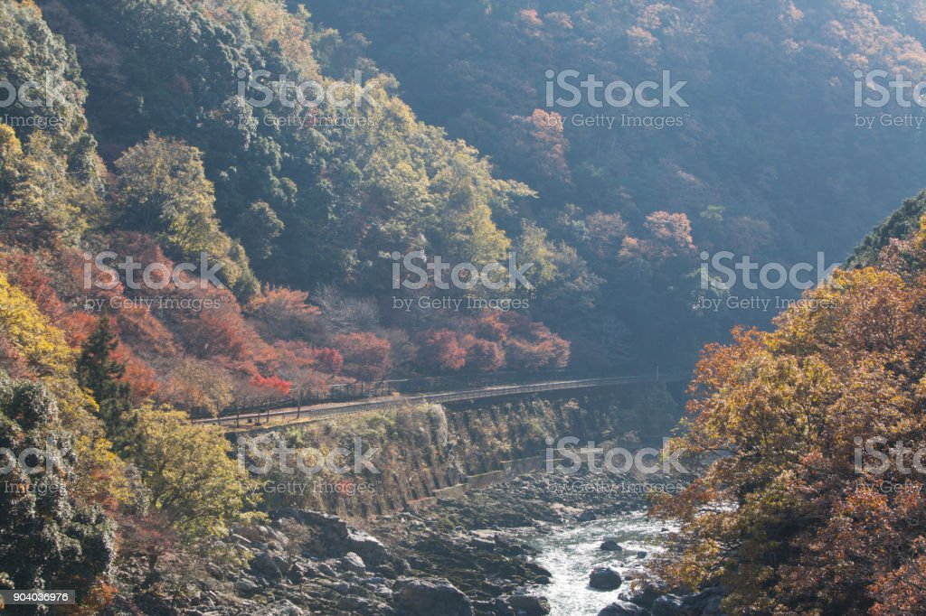 Top view of Hozu-gawa river from Torokko Hodukyo station in Arashiyama ,Kyoto ,Autumn season stock photo