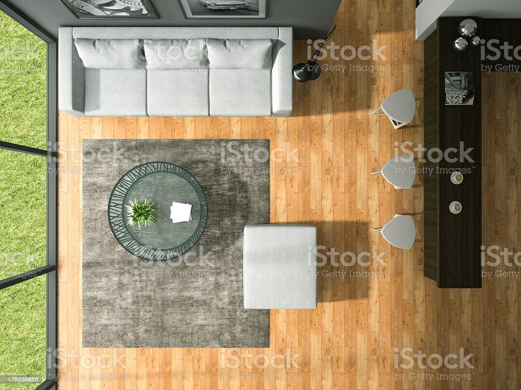 Vista dallalto di interni moderno camera design cm d rendering