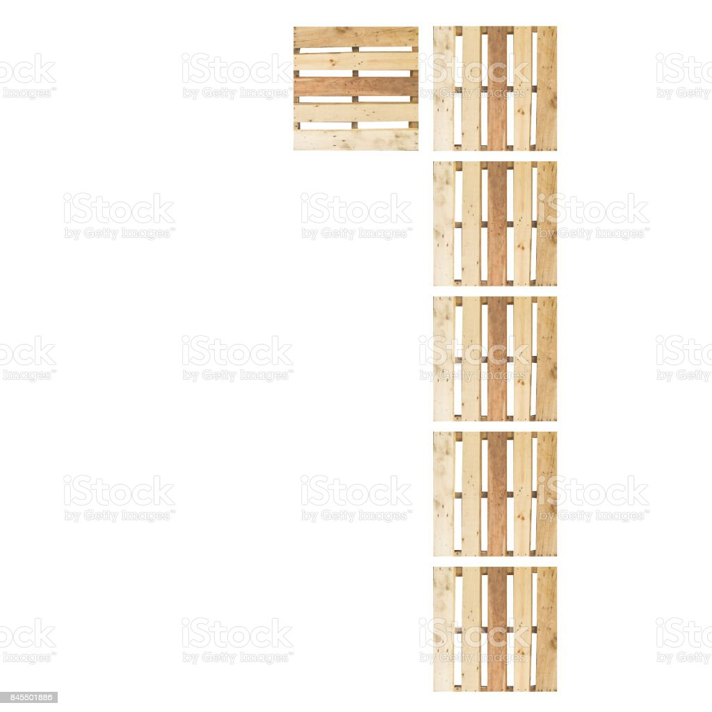 Top View Of Isolated Symbol Number Digit 1 One In Wood Pallet Pattern On