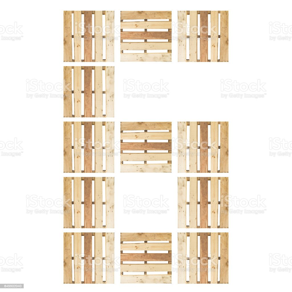Top View Of Isolated Symbol Number Digit 6 Six In Wood Pallet Pattern On