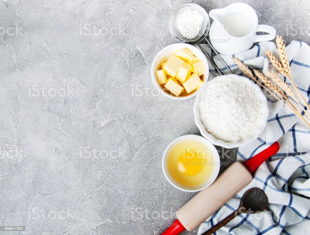 Top View Of Kitchen Table With Baking Ingredients Stock