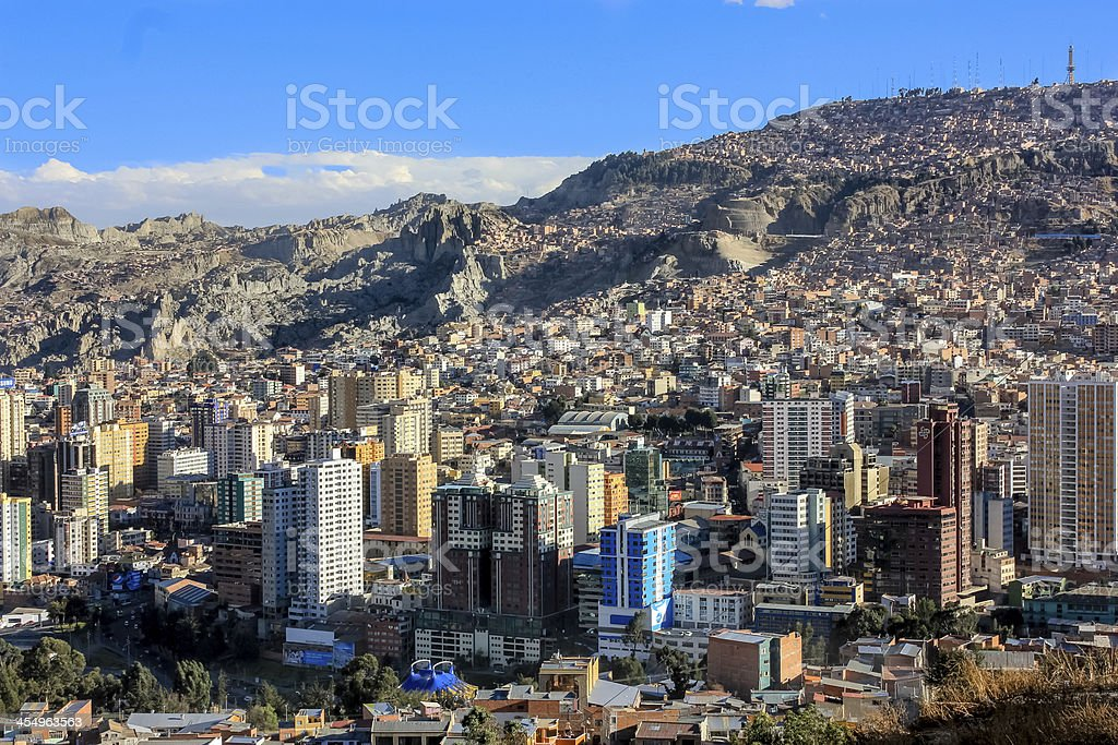 Top view of La Paz, Bolivia stock photo