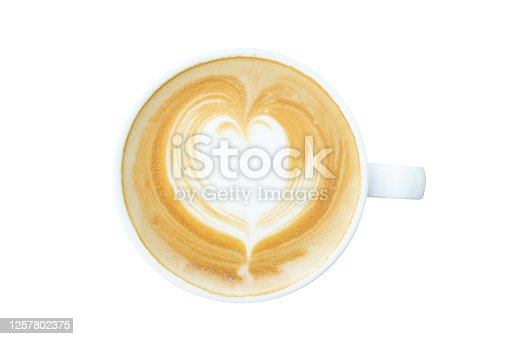 Top view of latte art coffee in white cup isolated on white background