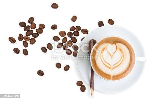 istock Top view of Latte coffee with scattered coffee beans 950666386