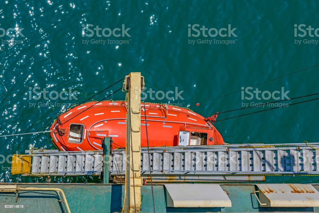 Top view of lifeboat stock photo