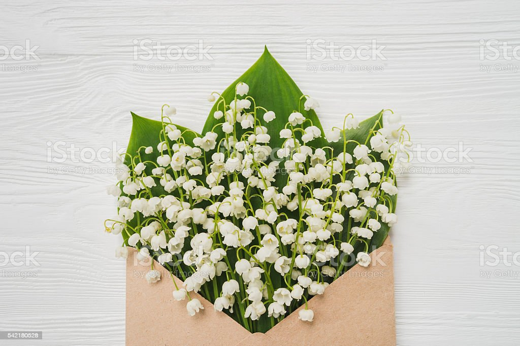 Lily of the valley on white wooden background. Top view of lily of...