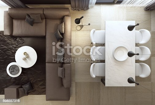 istock Top view of luxury style living room interior with sofa 598557316