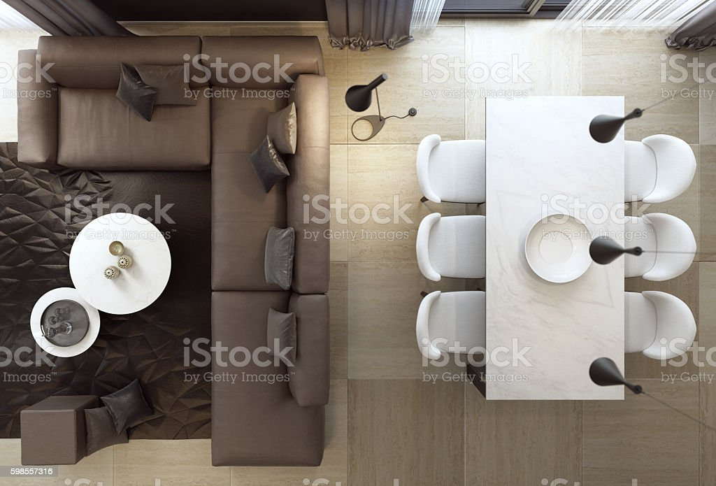 Top view of luxury style living room interior with sofa – Foto