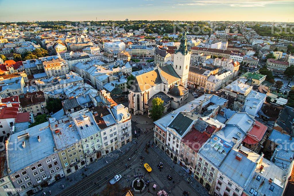Top view of Lviv city, Ukraine stock photo