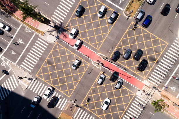 Top View of Many Cars Crossing stock photo