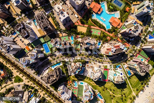 istock Top View of Many Modern Tall Buildings 827067248