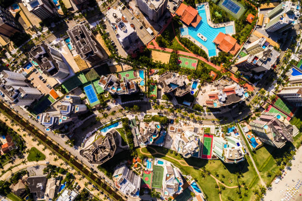 Top View of Many Modern Tall Buildings stock photo