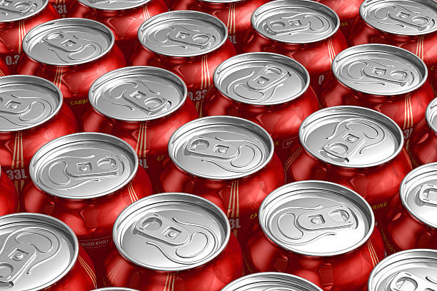 A top view of many red can refreshing drinks stock photo