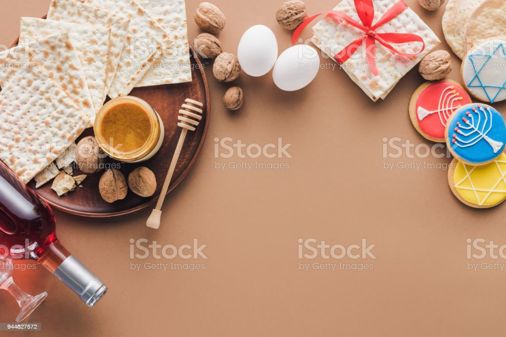 top view of matza, cookies and wine on table, Passover Tale concept stock photo