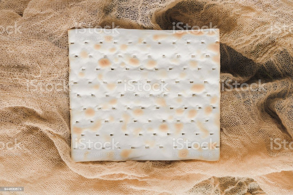 top view of matza piece, jewish Passover holiday concept stock photo