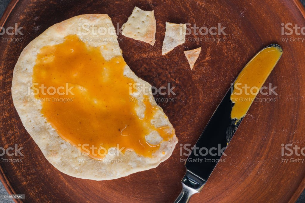 top view of matza with honey, jewish Passover holiday concept stock photo