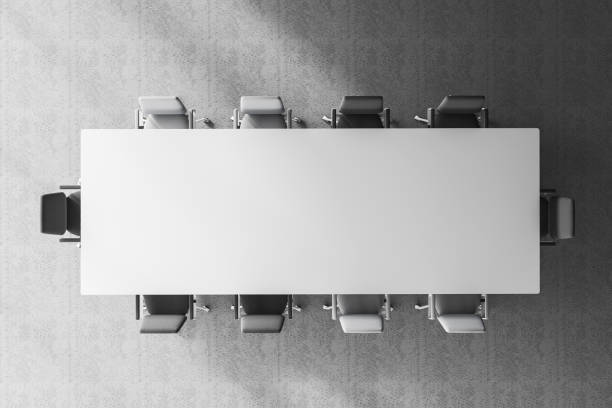 Top view of meeting room table stock photo